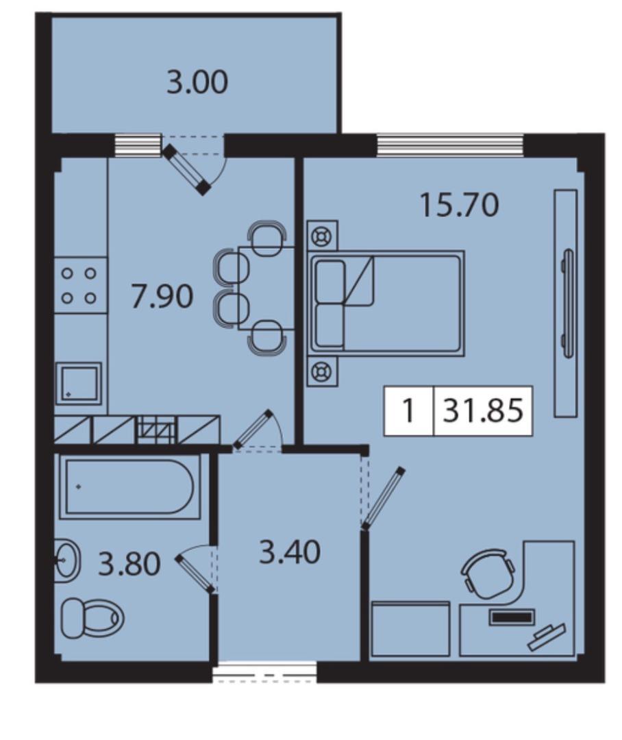 продажа однокомнатной квартиры номер A-161397 в Киевском районе, фото номер 6